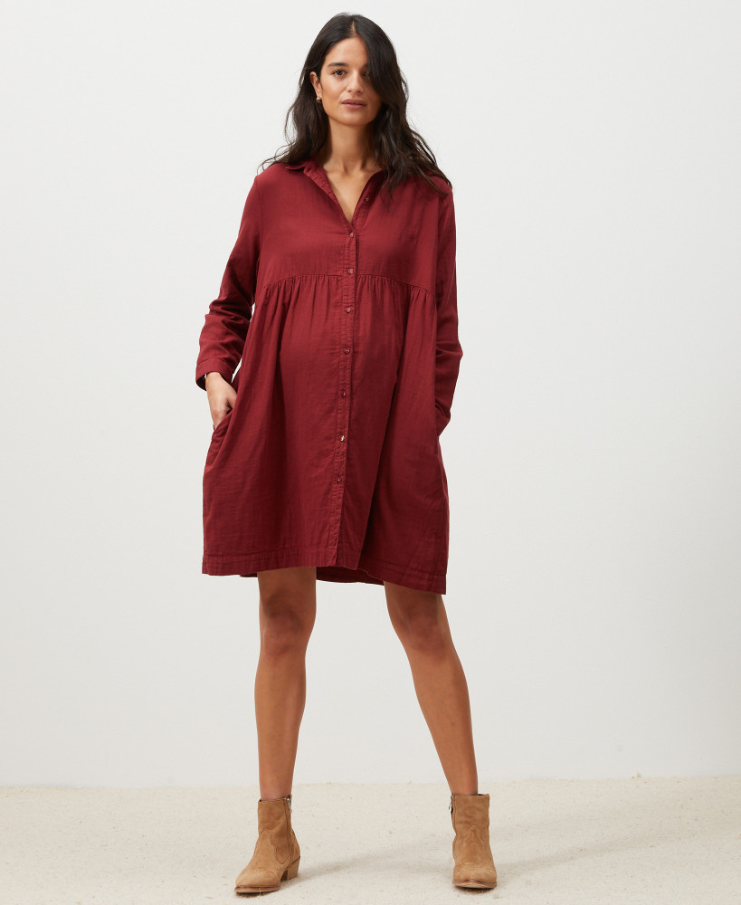 Esther Organic Cotton Burgundy Pregnancy Dress