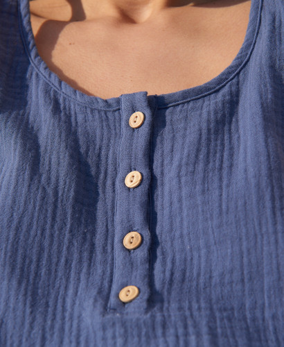Mathilde Blue Organic Cotton Outfit l Sustainable Maternity Homewear