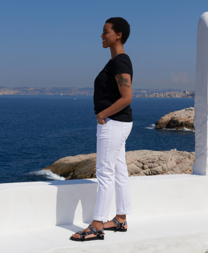 White Straight Maternity Jeans   Eco-responsible Pregnancy Pants