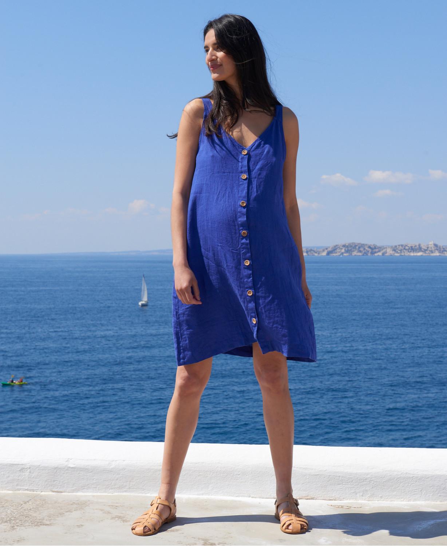 Diane Blue Linen Maternity Dress | Nursing Dresses & Ethical Fashion