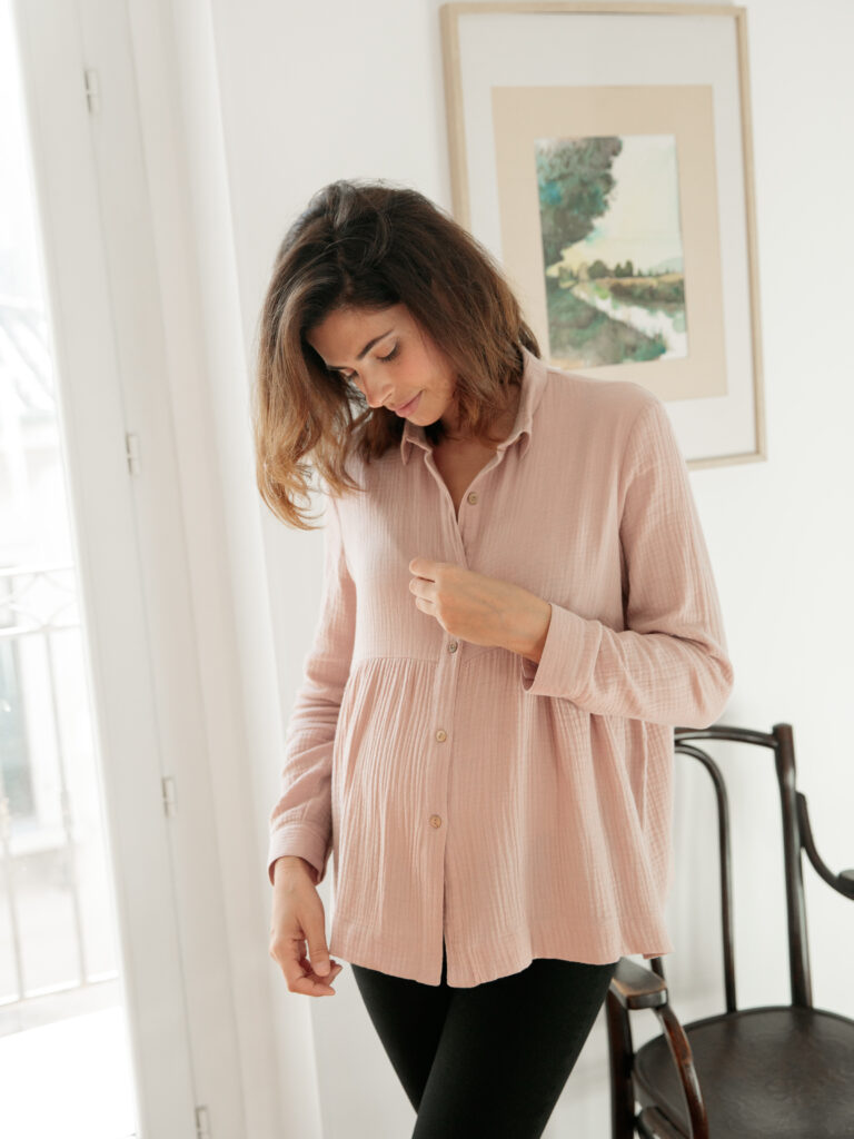 chemise Anita de grossesse en coton bio ecoresponsable