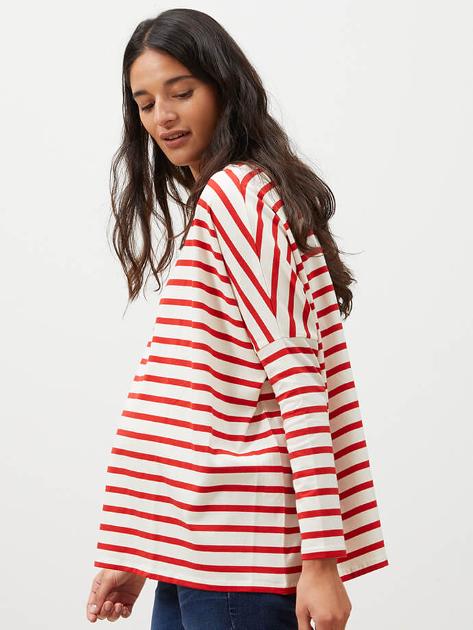 Red striped pregnancy top